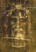 Shroud of Turin face as it appears when photographed. This is the negative.